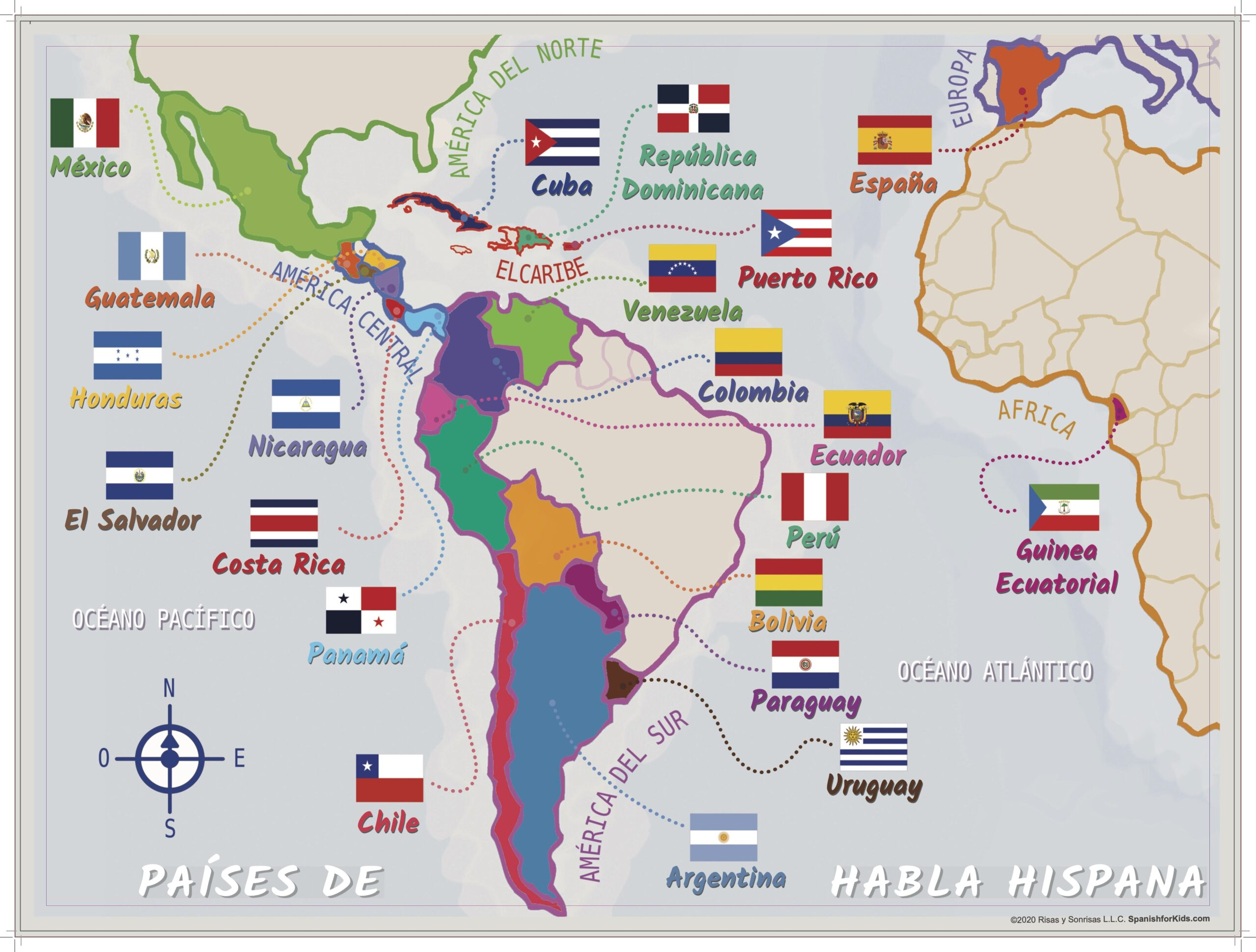 Map Of Spanish Speaking Countries In Africa Map of Spanish Speaking Countries   Spanish for Kids